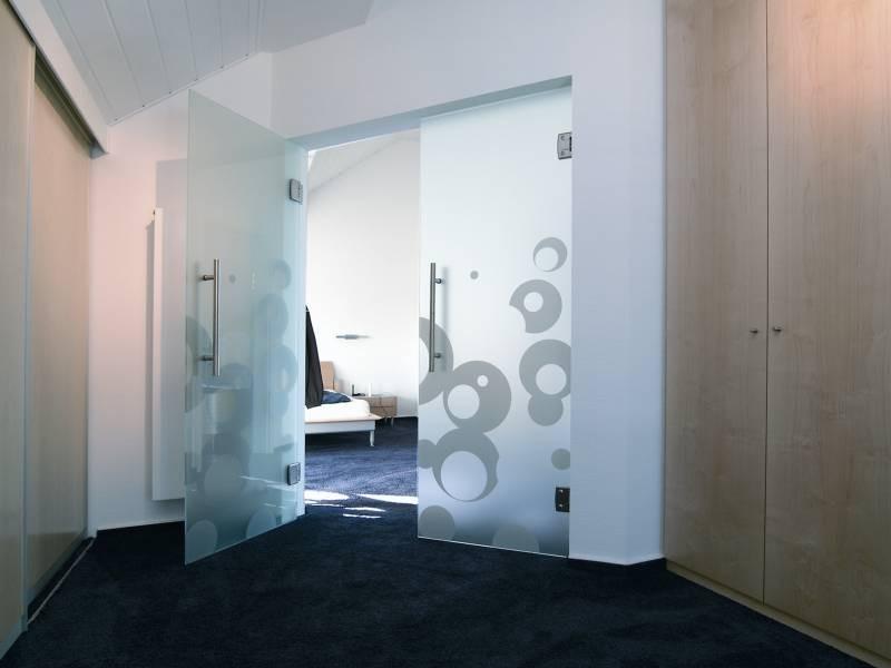 двустворчатые маятниковые стеклянные двери
