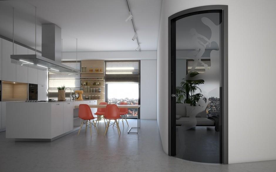 одностворчатая распашная стеклянная дверь межкомнатная