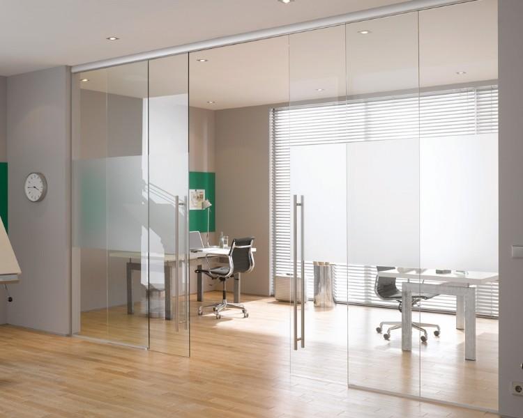Раздвижные стеклянные двери офисные