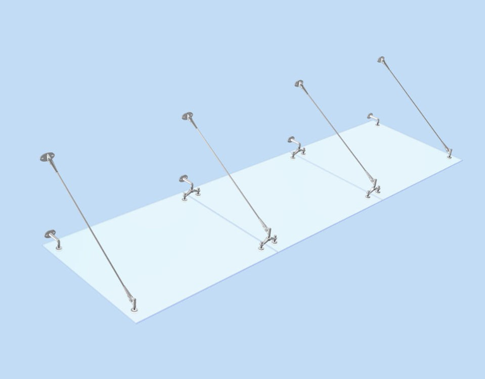 стеклянный козырек на 8 точках крепления
