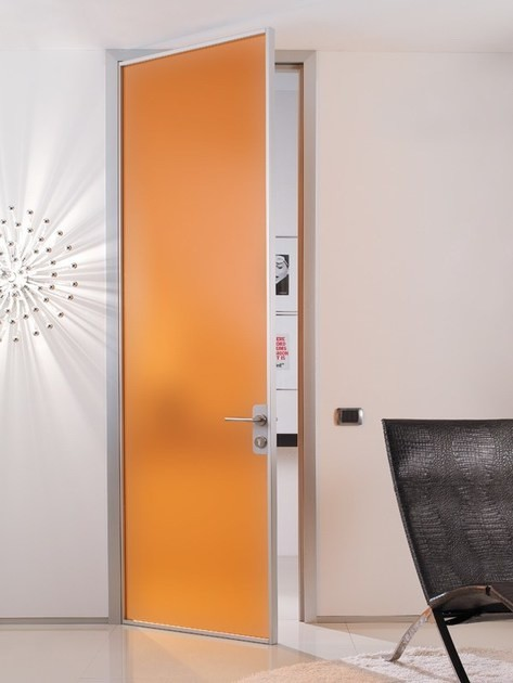 Цветные маятниковые стеклянные двери офисные