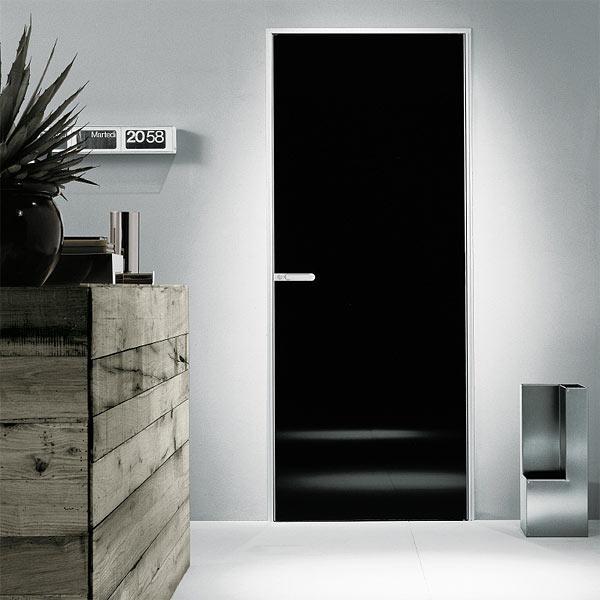 распашные стеклянные двери дизайн черное стекло