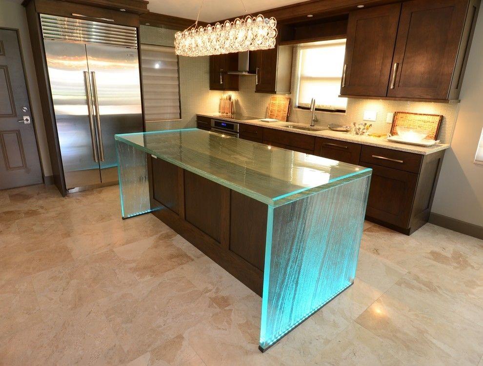 кухонный островок из стекла