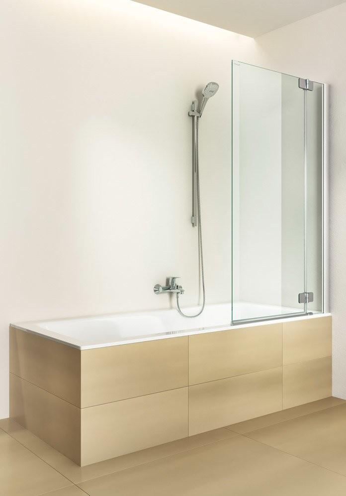 Шторка на ванну стеклянная, распашная